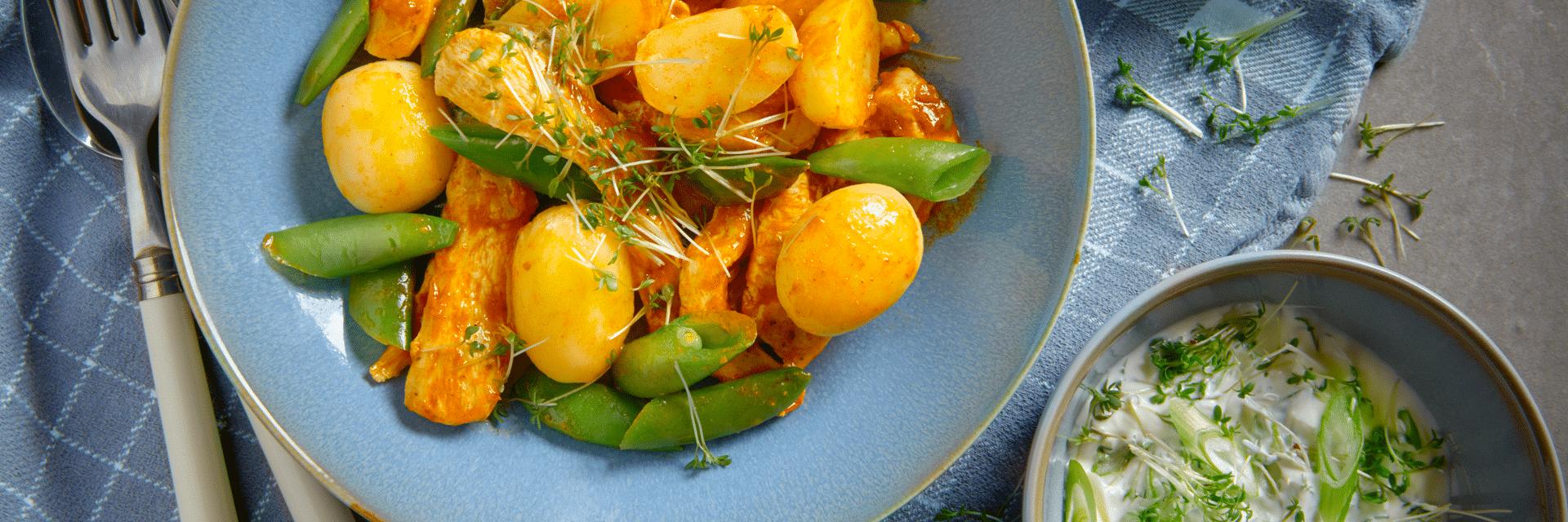 Tikka Masala aardappel kip salade