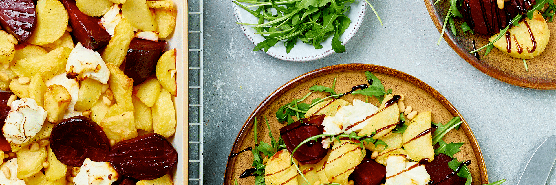 Ovenschotel met aardappel, biet en geitenkaas